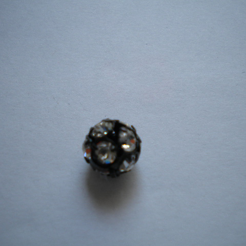 Pallina strass 10mm - nera (1pz)