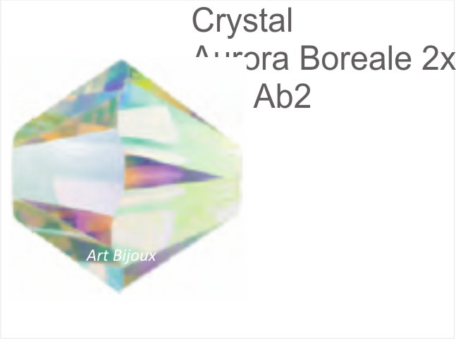 Bicono 6 mm - Crystal AB 2x