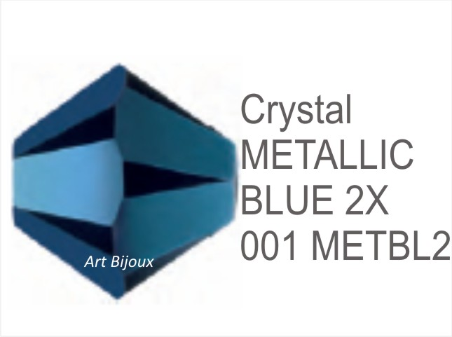 Bicono 6 mm - Crystal Metallic Blue 2x