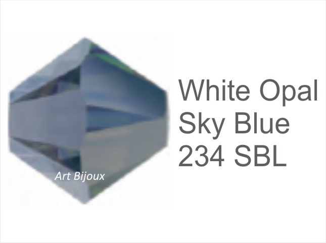 Bicono 6 mm - White Opal Sky Blue