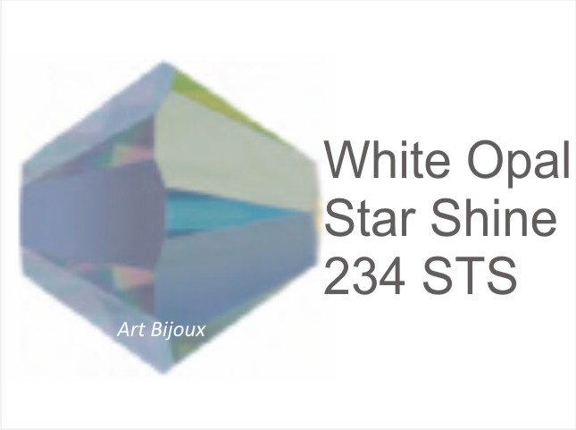 Bicono 6 mm - White Opal Star Shine