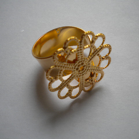 Anello filigrana base larga -oro