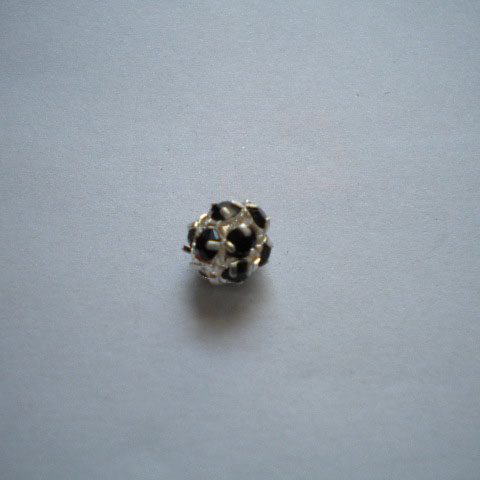 Pallina strass 8mm - nera (1pz)